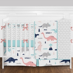 Coral, Turquoise, Navy Blue and Grey Modern Mod Dinosaur Baby Girls Crib Bedding Set with Bumper - 9 Pieces