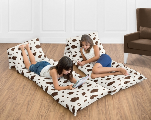 Brown Cow Print Kids Teen Floor Pillow Case Lounger Cushion Cover for Wild West Cowboy Western Collection - Click to enlarge