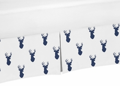 Crib Bed Skirt for Navy and White Woodland Deer Baby Bedding Sets by Sweet Jojo Designs