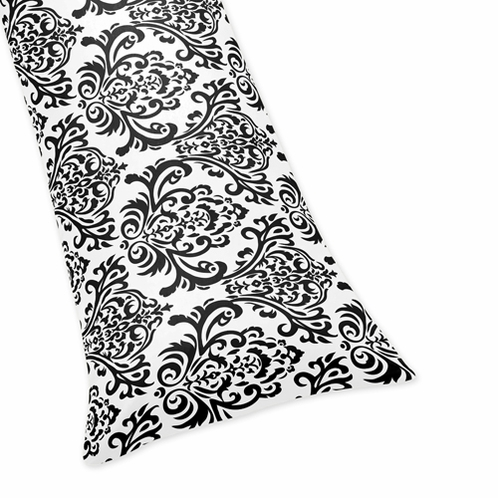 Damask Full Length Double Zippered Body Pillow Cover for Black and White Isabella Bedding Set - Click to enlarge