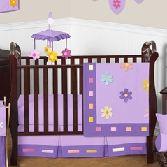 Danielle's Daisies Baby Bedding - 11pc Purple Crib Bedding Set