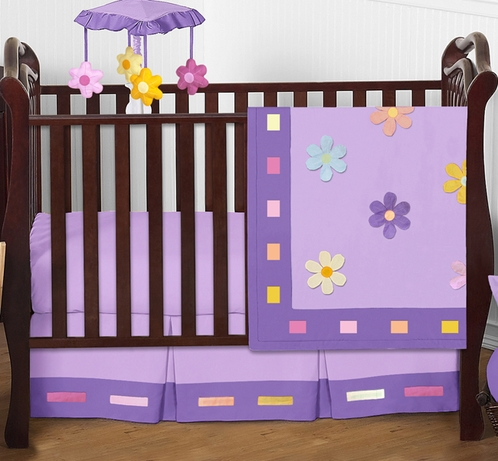 Danielle's Daisies Baby Bedding - 4pc Purple Crib Bedding Set - Click to enlarge