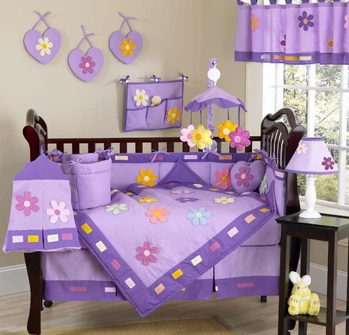 daisies baby bedding 9 pc purple crib bedding set click to enlarge