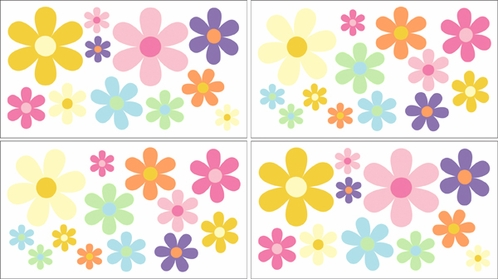 Danielle's Daisies Baby, Childrens and Teens Wall Decal Stickers - Set of 4 Sheets - Click to enlarge