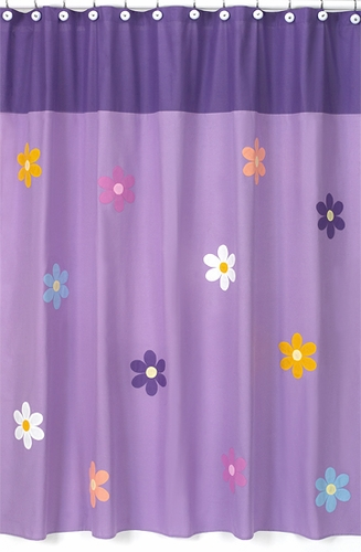 Danielle's Daisies Kids Bathroom Fabric Bath Shower Curtain - Click to enlarge