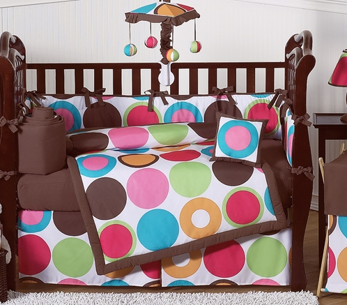 Deco Dot Modern Baby Girls Bedding - 9 pc Crib Set - Click to enlarge