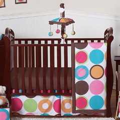 Deco Dot Modern Baby Girls Bedding - 11pc Crib Set