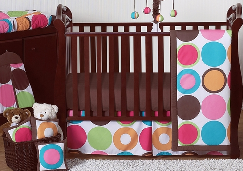 Deco Dot Modern Baby Girls Bedding - 11pc Crib Set - Click to enlarge