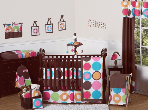 Deco dot modern baby girls bedding 9 pc crib set click to enlarge - Deco babybed ...