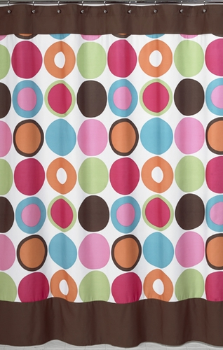 Deco Dot Modern Kids Bathroom Fabric Bath Shower Curtain - Click to enlarge