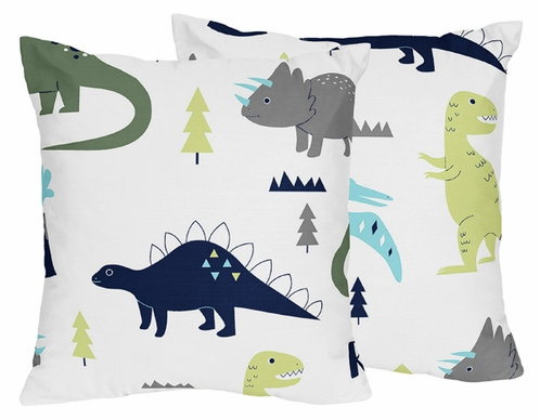Decorative Accent Throw Pillows for Blue and Green Mod Dinosaur Bedding Sets by Sweet Jojo Designs - Set of 2 - Click to enlarge