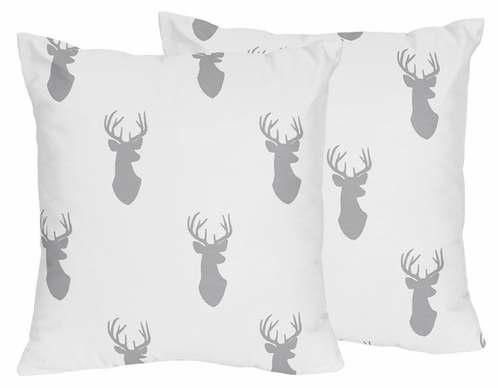 Decorative Accent Throw Pillows for Grey and White Woodland Deer Bedding Sets by Sweet Jojo Designs - Set of 2 - Click to enlarge
