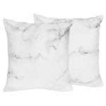 Decorative Accent Throw Pillows for Grey, Black and White Marble Bedding Sets by Sweet Jojo Designs - Set of 2
