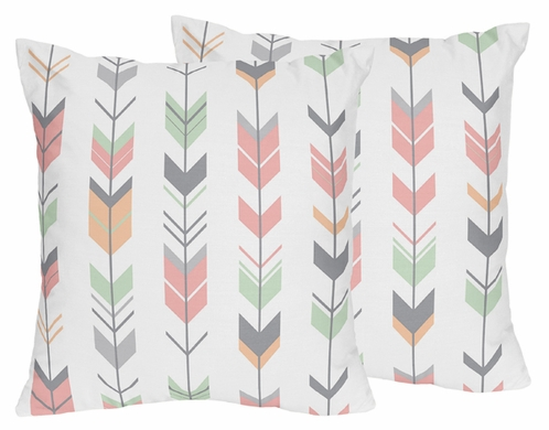 Decorative Accent Throw Pillows for Grey, Coral and Mint Woodland Arrow Bedding by Sweet Jojo Designs - Set of 2 - Click to enlarge