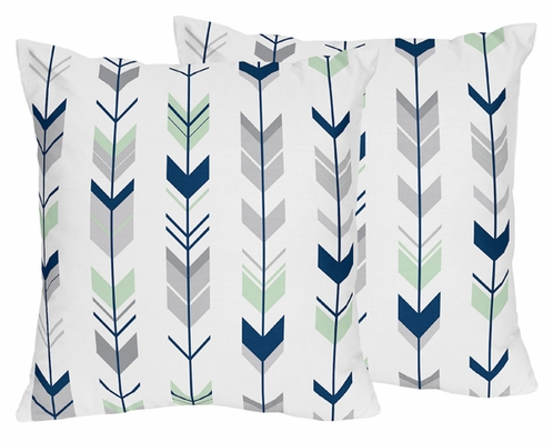 Decorative Accent Throw Pillows for Grey, Navy Blue and Mint Woodland Arrow Bedding by Sweet Jojo Designs - Set of 2 - Click to enlarge