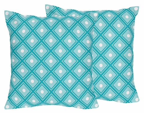 Decorative Accent Throw Pillows for Mod Elephant Bedding by Sweet Jojo Designs - Set of 2 - Click to enlarge