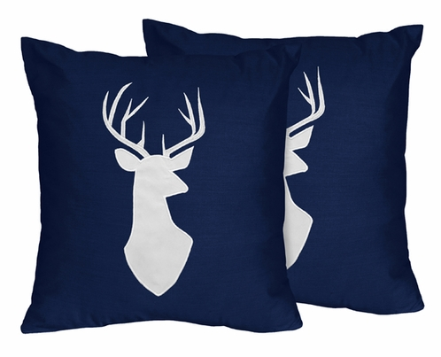 Decorative Accent Throw Pillows for Navy, Mint and Grey Woodsy Bedding Sets by Sweet Jojo Designs - Set of 2 - Click to enlarge