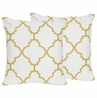 Decorative Accent Throw Pillows for White and Gold Trellis Bedding Sets by Sweet Jojo Designs - Set of 2