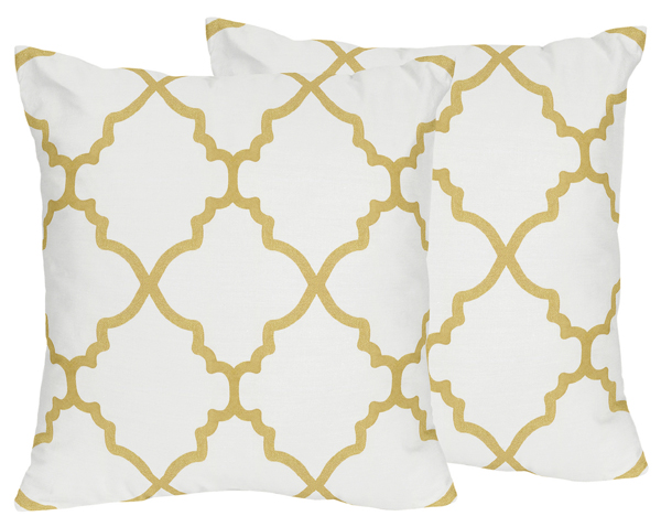 decorative accent throw pillows for white and gold trellis bedding