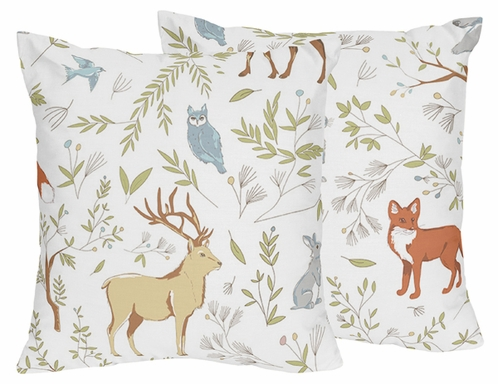 Decorative Accent Throw Pillows for Woodland Animal Toile Bedding Sets by Sweet Jojo Designs - Set of 2 - Click to enlarge