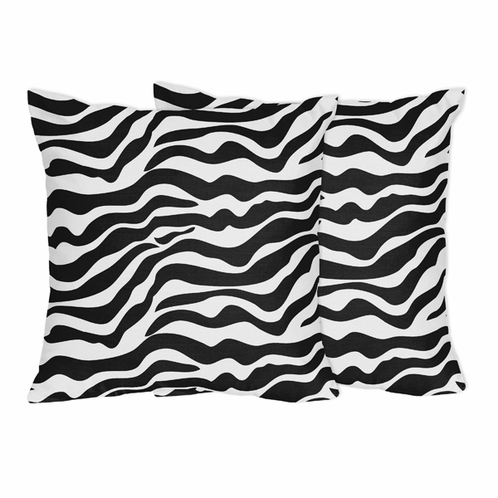 Decorative Accent Throw Pillows for Zebra Bedding Sets by Sweet Jojo Designs - Set of 2 - Click to enlarge