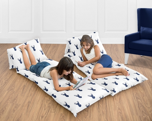 Navy and White Woodland Deer Forest Animal Kids Teen Floor Pillow Case Lounger Cushion Cover by Sweet Jojo Designs - Click to enlarge