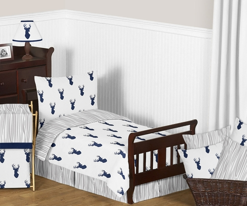 Navy and White Woodland Deer Boys Toddler Bedding - 5pc Set by Sweet Jojo Designs - Click to enlarge