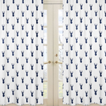 Deer Print Window Treatment Panels for Navy and White Woodland Deer Collection by Sweet Jojo Designs - Set of 2