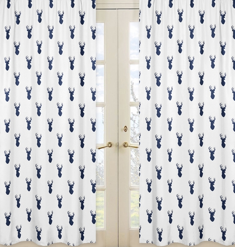 Deer Print Window Treatment Panels for Navy and White Woodland Deer Collection by Sweet Jojo Designs - Set of 2 - Click to enlarge