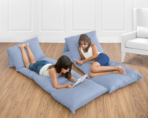 Denim Blue Kids Teen Floor Pillow Case Lounger Cushion Cover by Sweet Jojo Designs - Click to enlarge