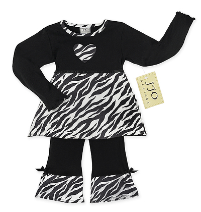Designer 2pc Baby Girls Black and White Zebra Print Outfit by Sweet Jojo Designs - Click to enlarge