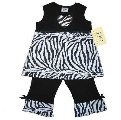 Designer 2pc Baby Girls Boutique Black and White Zebra Print Outfit - Click to enlarge