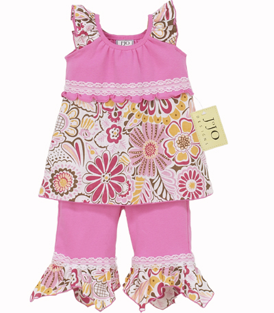 Designer 2pc Pink Hankie Outfit by Sweet Jojo Designs - Click to enlarge
