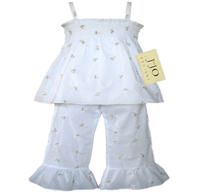 Designer 2pc White Smocked Boutique Baby Outfit by Sweet Jojo Designs - Click to enlarge