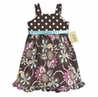 Designer Chocolate and Turquoise Floral and Polka Dot Girls Dress by Sweet Jojo Designs