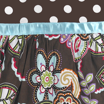 7ca0d7e49 Designer Chocolate and Turquoise Floral and Polka Dot Girls Dress by ...