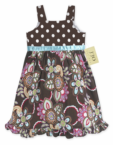 Designer Chocolate and Turquoise Floral and Polka Dot Girls Dress by Sweet Jojo Designs - Click to enlarge