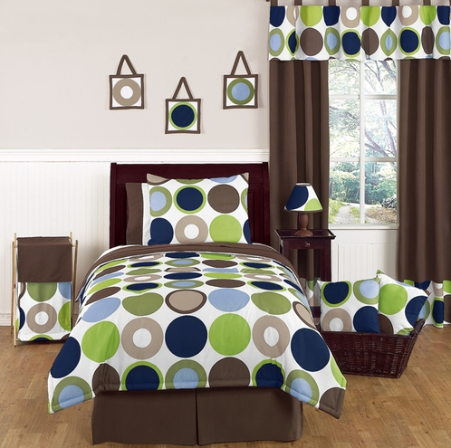 Designer Dot Boys Modern Childrens and Teen Bedding by Sweet Jojo Designs - 3pc Full / Queen Set - Click to enlarge