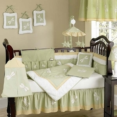 Dragonfly Dreams Green Baby Bedding - 9 pc Crib Set