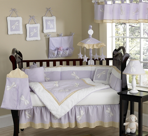 Dragonfly Dreams Lavender Baby Bedding 9 Pc Crib Set Click To Enlarge