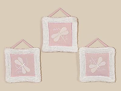 Dragonfly Dreams Pink Wall Hanging Art Decor 3 Piece Set - Click to enlarge