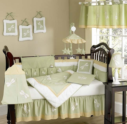 Dragonfly Dreams Green Baby Bedding - 9 pc Crib Set - Click to enlarge