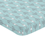 Turquoise Blue and Grey Arrow Baby Fitted Mini Portable Crib Sheet for Earth and Sky Collection by Sweet Jojo Designs