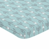 Turquoise Blue and Grey Arrow Baby Toddler Fitted Mini Portable Crib Sheet for Earth and Sky Collection by Sweet Jojo Designs