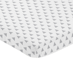 Grey and White Triangle Baby Fitted Mini Portable Crib Sheet for Earth and Sky Collection by Sweet Jojo Designs