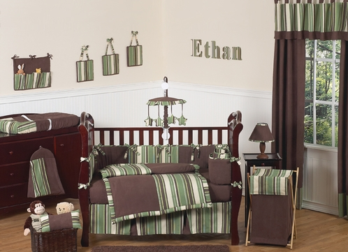 Ethan Green and Brown Modern Boys Baby Bedding - 9pc Crib Set - Click to enlarge