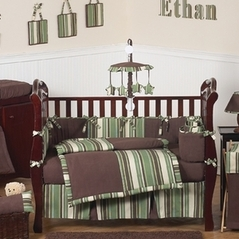 Ethan Green And Brown Modern Boys Baby Bedding 9pc Crib Set