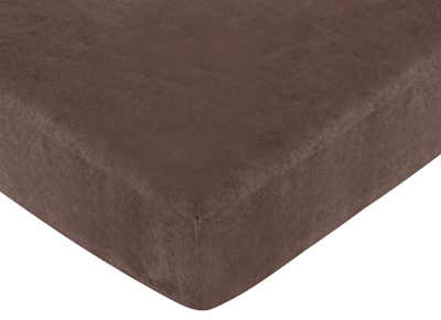 Ethan Modern Fitted Crib Sheet for Baby and Toddler Bedding Sets by Sweet Jojo Designs - Brown Microsuede - Click to enlarge