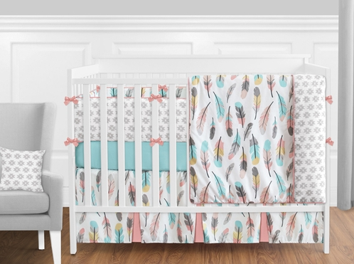 Feather Baby Bedding - 9 Piece Girls Crib Set by Sweet Jojo Designs - Click to enlarge