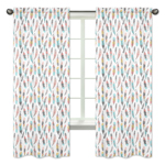 Feather Print Window Treatment Panels for Feather Collection by Sweet Jojo Designs - Set of 2